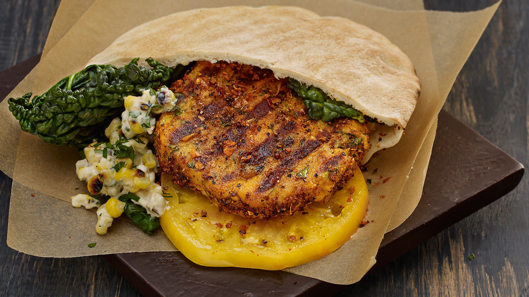 McCormick GrillMates Mesquite Chickpea Burger with Grilled Corn Topping