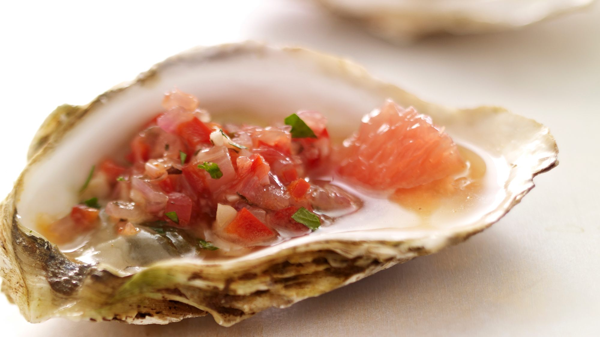McCormick Grilled Oysters with Grapefruit and Red Pepper Relish