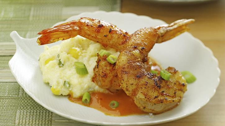 McCormick Gourmet Smoked Paprika Shrimp with Poblano Polenta and Red Pepper-Agave Sauce