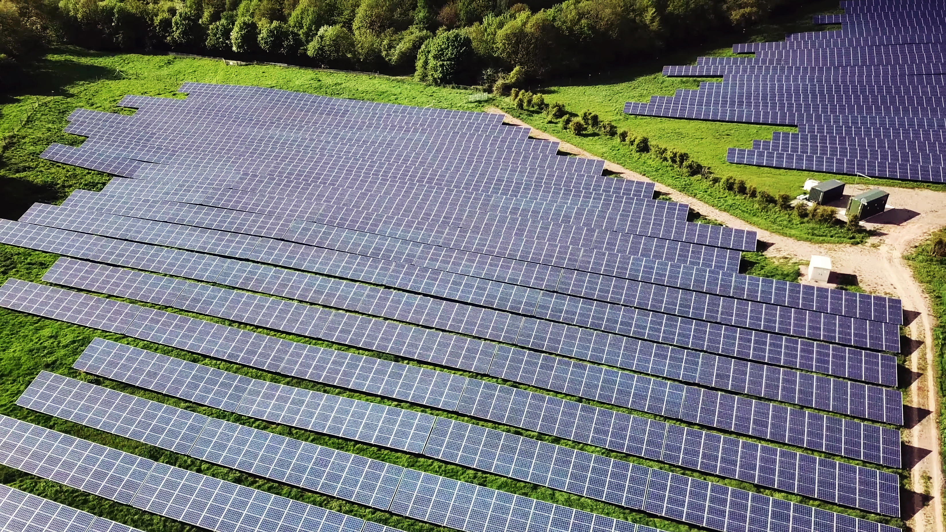 Aerial view of a solar power station