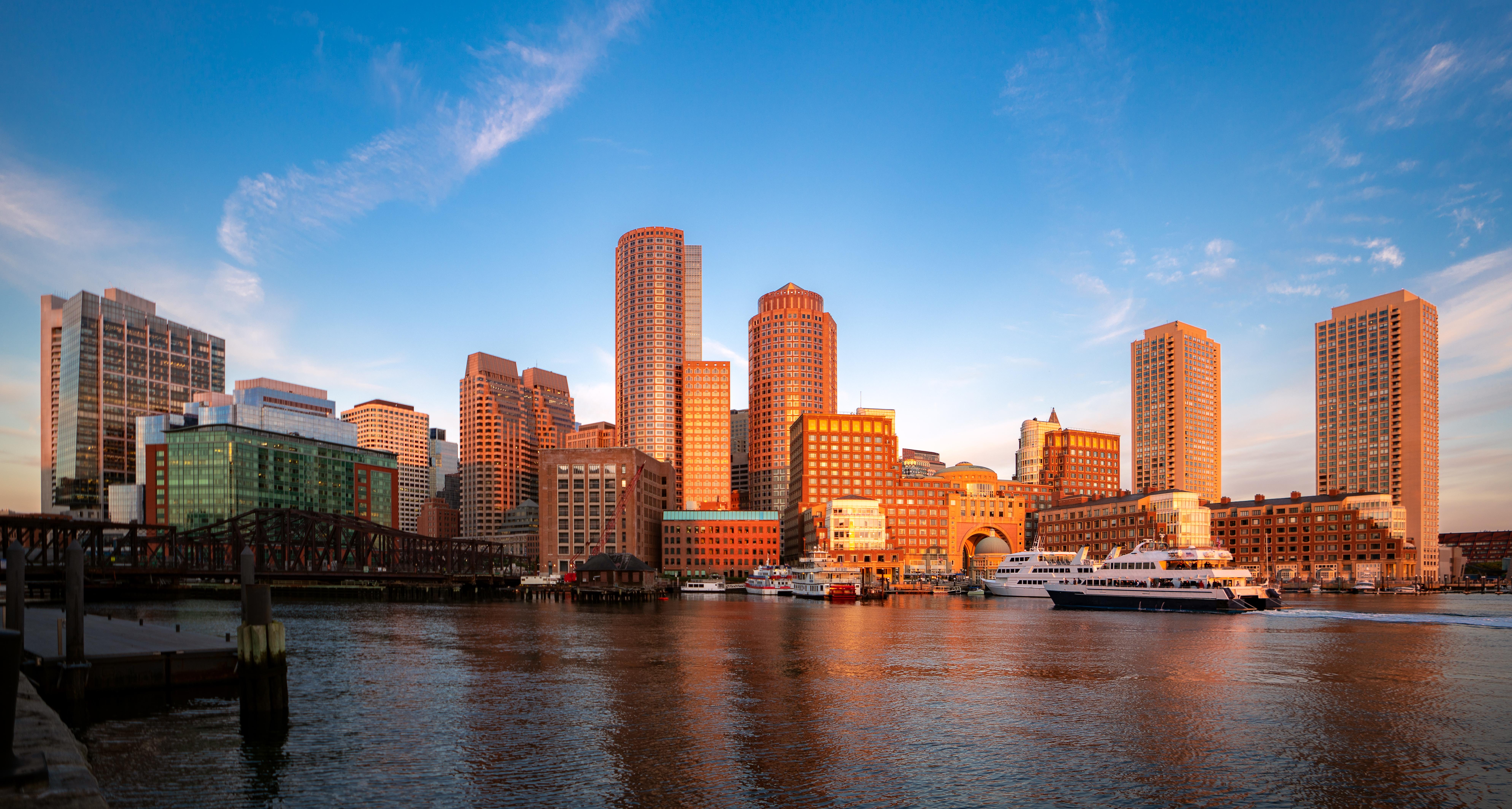 Boston harbour morning sunrise,