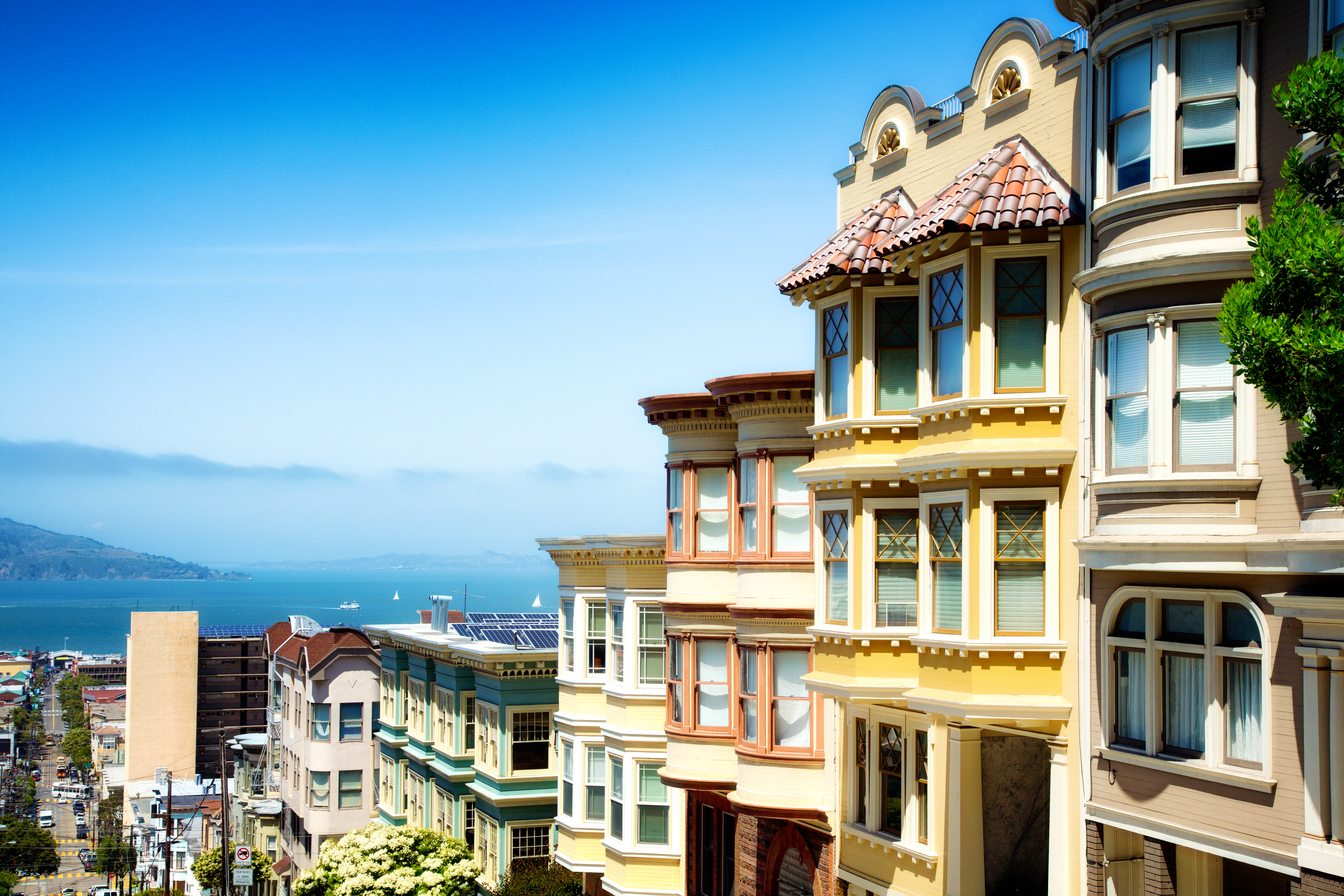 Colorful San Francisco building tops with Bay Sunny day
