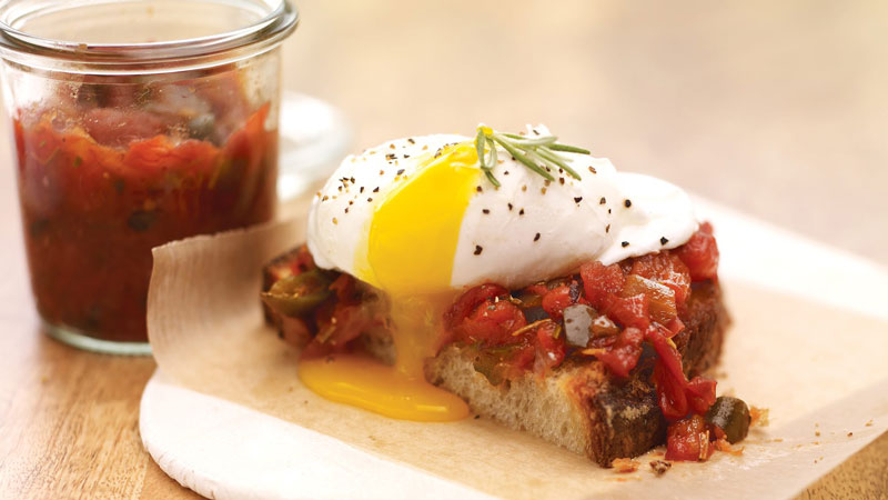 McCormick Rosemary Smoked Tomato Jam with Poached Egg