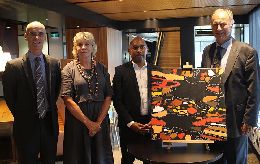 Photo : Pictured above L-R: Fujitsu Australia CEO Mike Foster, Aunty Julie Janson Darug Elder, Jason Timor, Deputy CEO Supply Nation and Federal Member for Bennelong, John Alexander OAM.