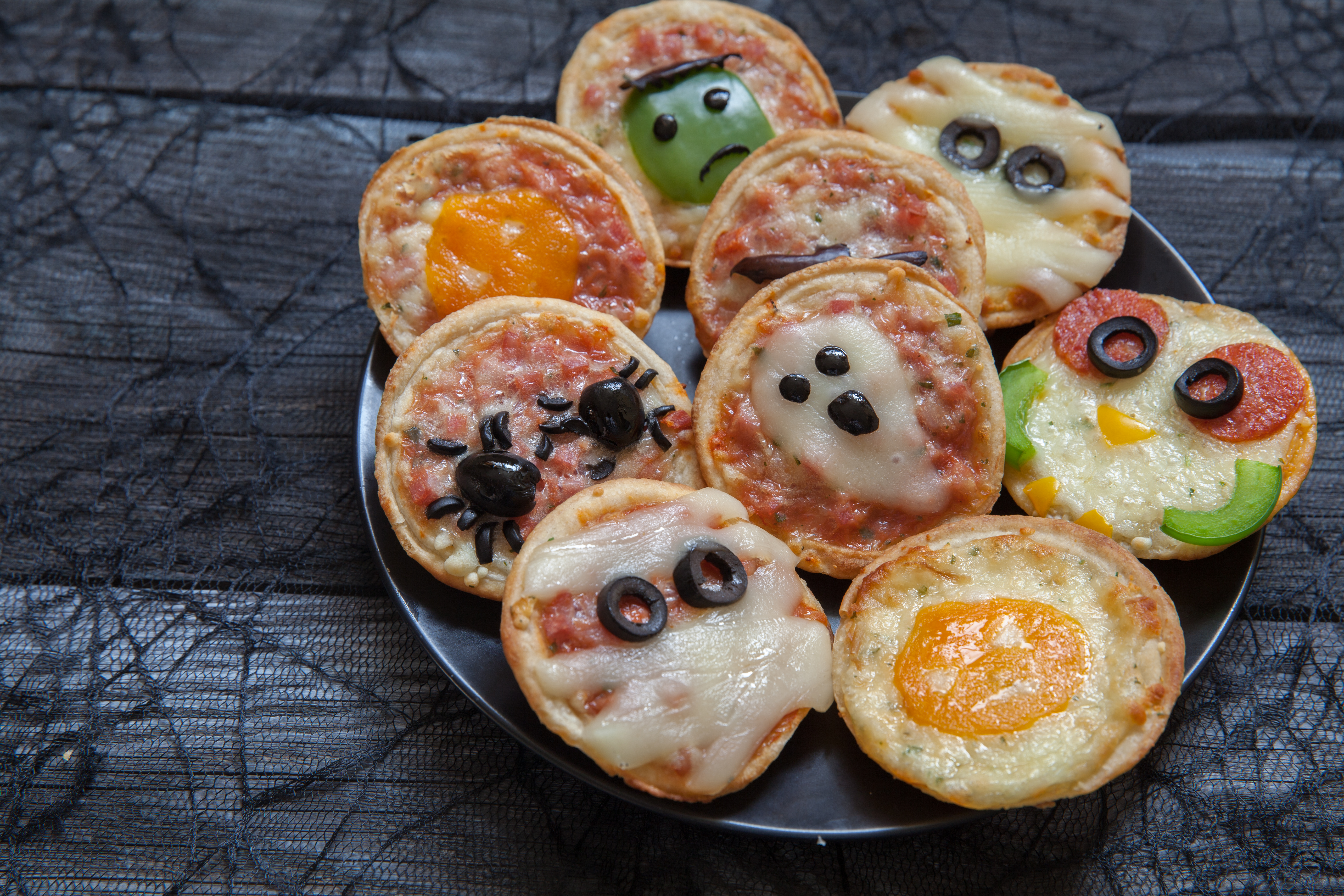 Colorful Halloween Mini Pizzas
