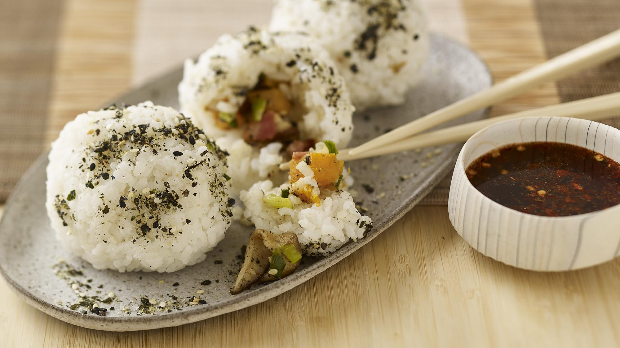 McCormick Shiitake & Bacon Rice Balls with Spicy Ginger Sauce