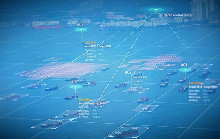 写真 : Zinraiソリューションは、船舶衝突リスクを高度に予測することで、予防的で安定的な安全航行を実現。船員は、周囲の船とのニアミスリスクを正確に把握し、リスクスポットを予測することが可能