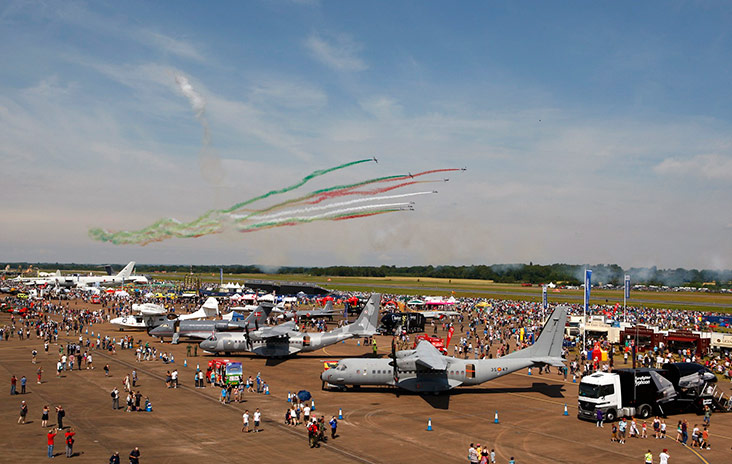 An acrobatic flypast at the Royal International Air Tattoo