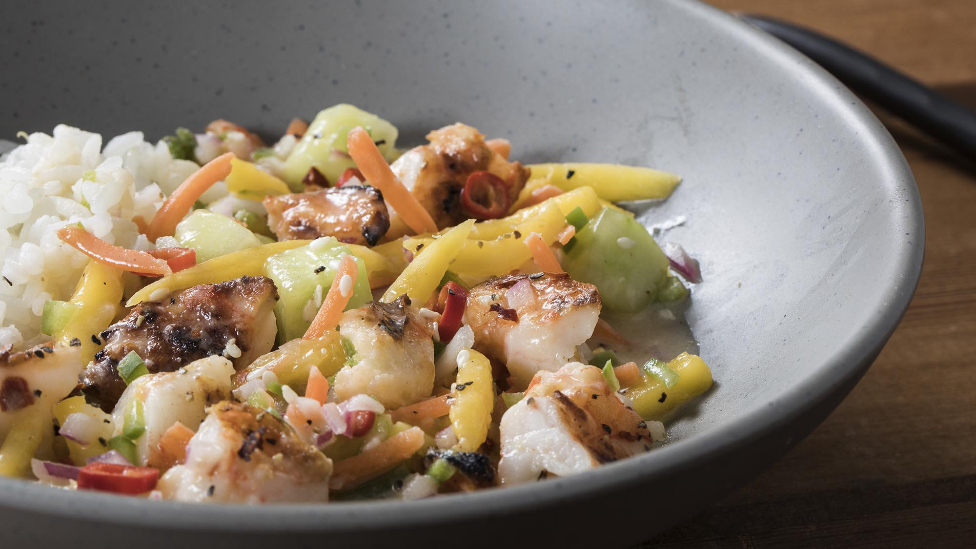 McCormick Ginger Lime Shrimp Poke with Coconut Milk and Rice