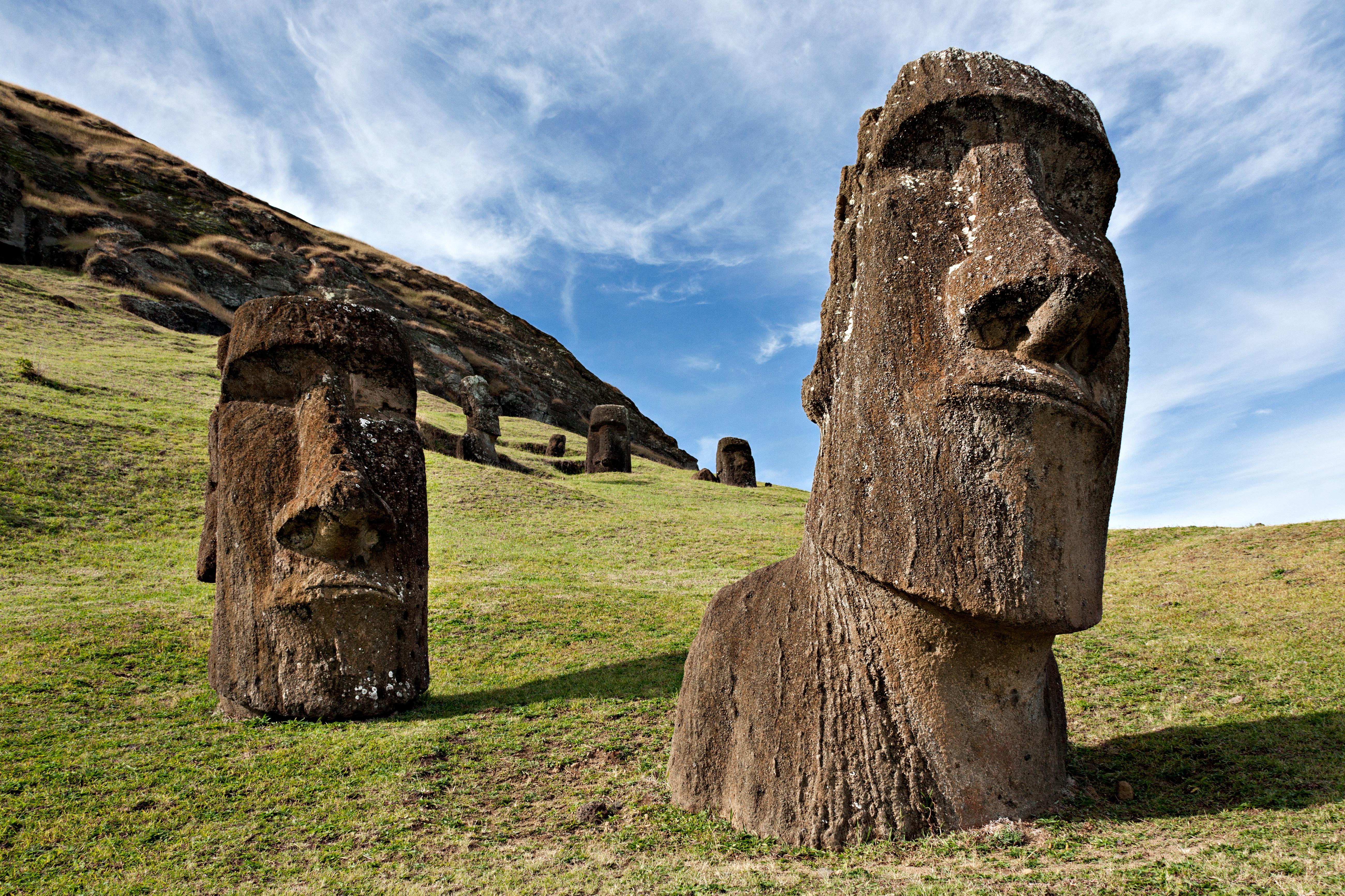 Moai statues, rano raraku, easter island, polynesia