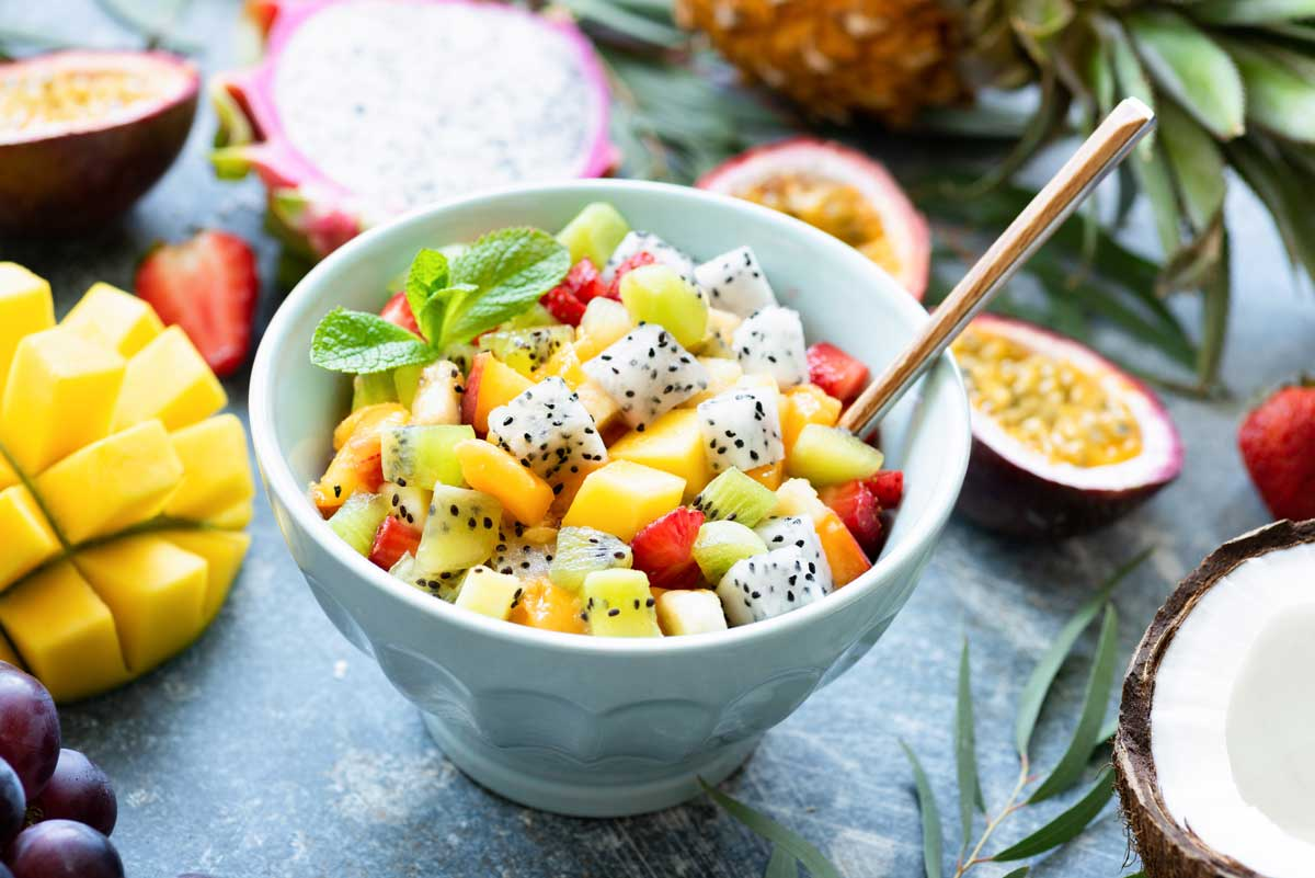 Fruit Salad Bowl with Dragon Fruit, Mango, Kiwi, and Strawberry Chunks