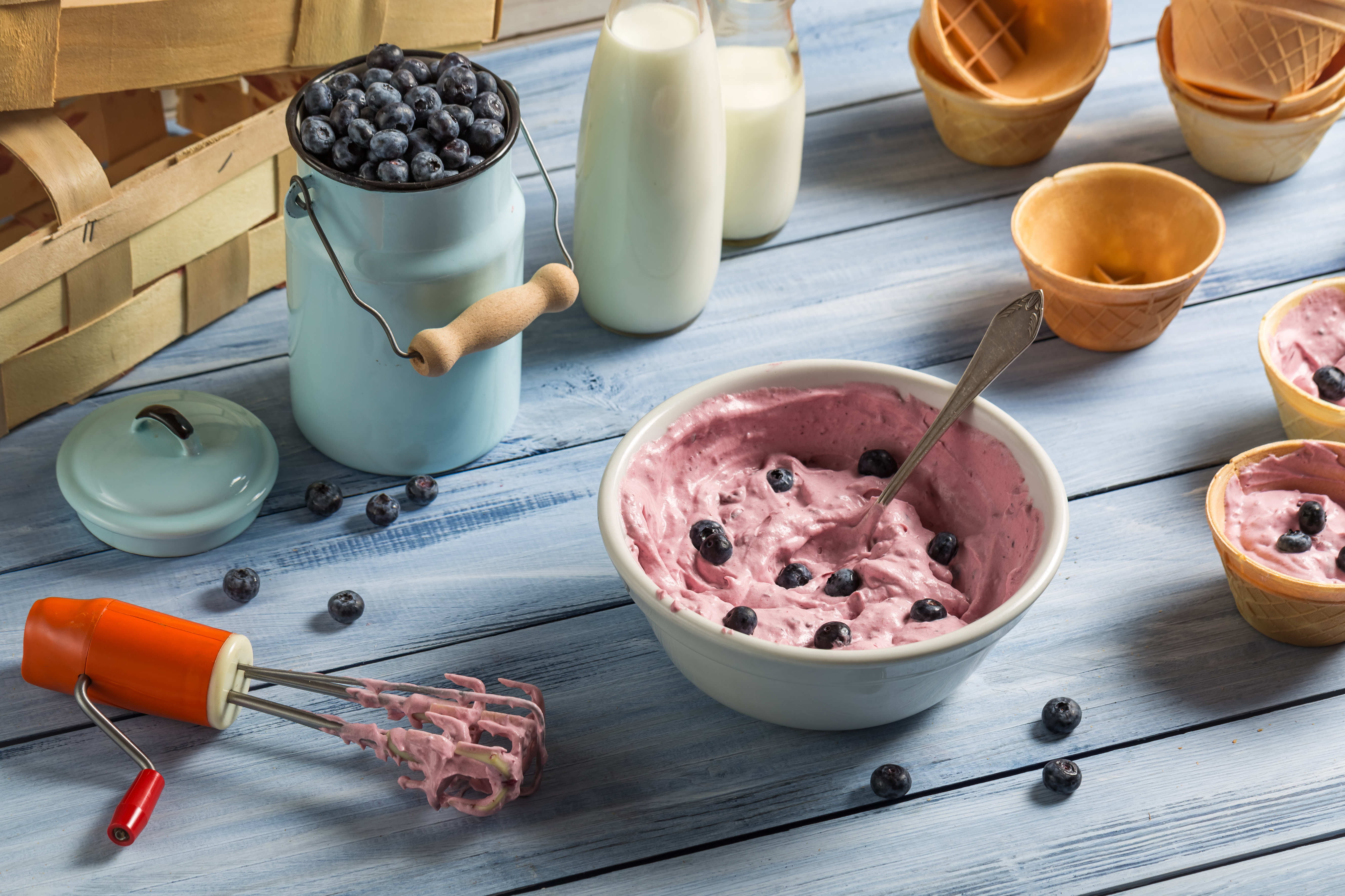 Homemade Hand Mixed Blueberry Ice Cream