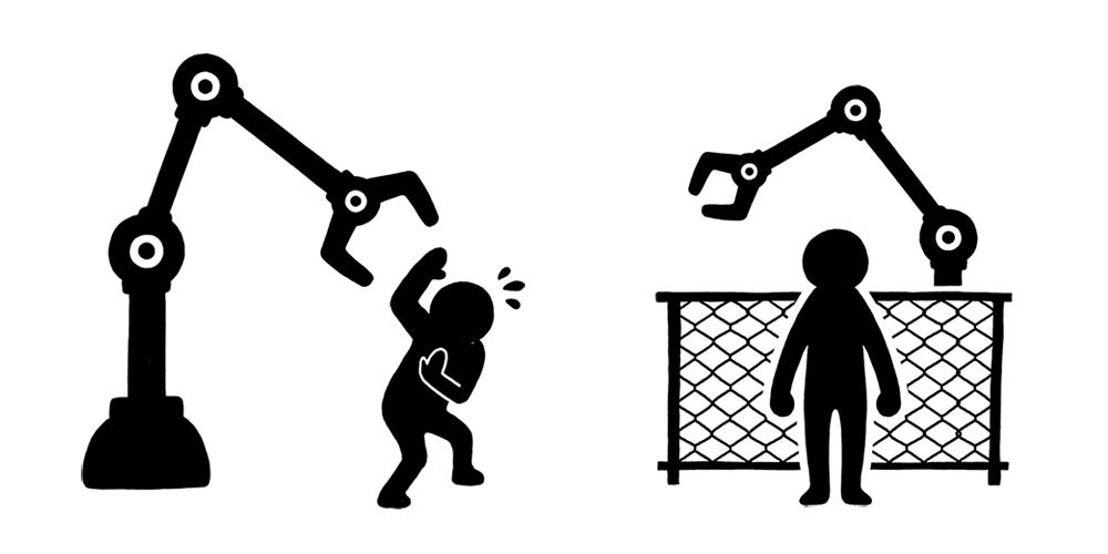 人間とロボットの距離が近くなることで、事故の危険性が高まる。安全を守るため、ロボットと人間の作業エリアを分けるなど、徹底した管理が必要となってくる