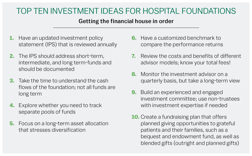 Top ten investment ideas for hospital foundations.