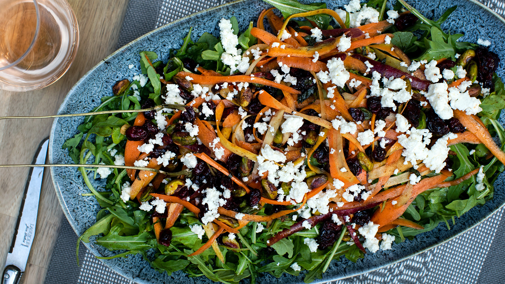 McCormick Shaved Carrot Salad with Pomegranate Harissa Dressing