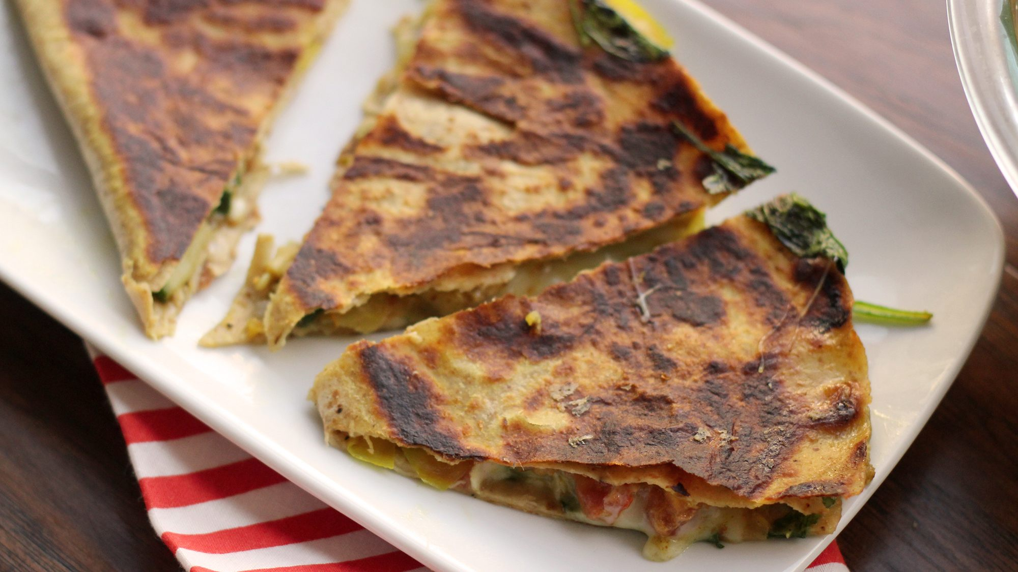 McCormick Gourmet Curried Mushroom and Spinach Quesadillas
