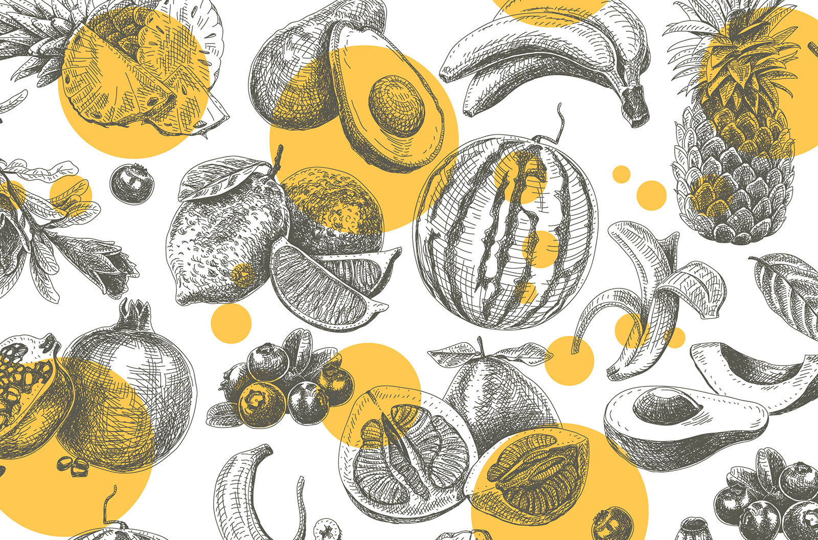 Fruits seamless engraving colorful pattern stock illustration