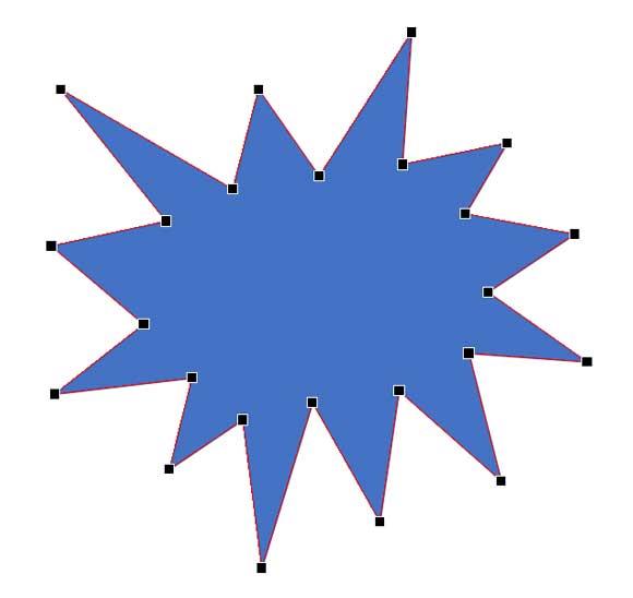 頂点(黒い点)をドラッグして形を調整できる