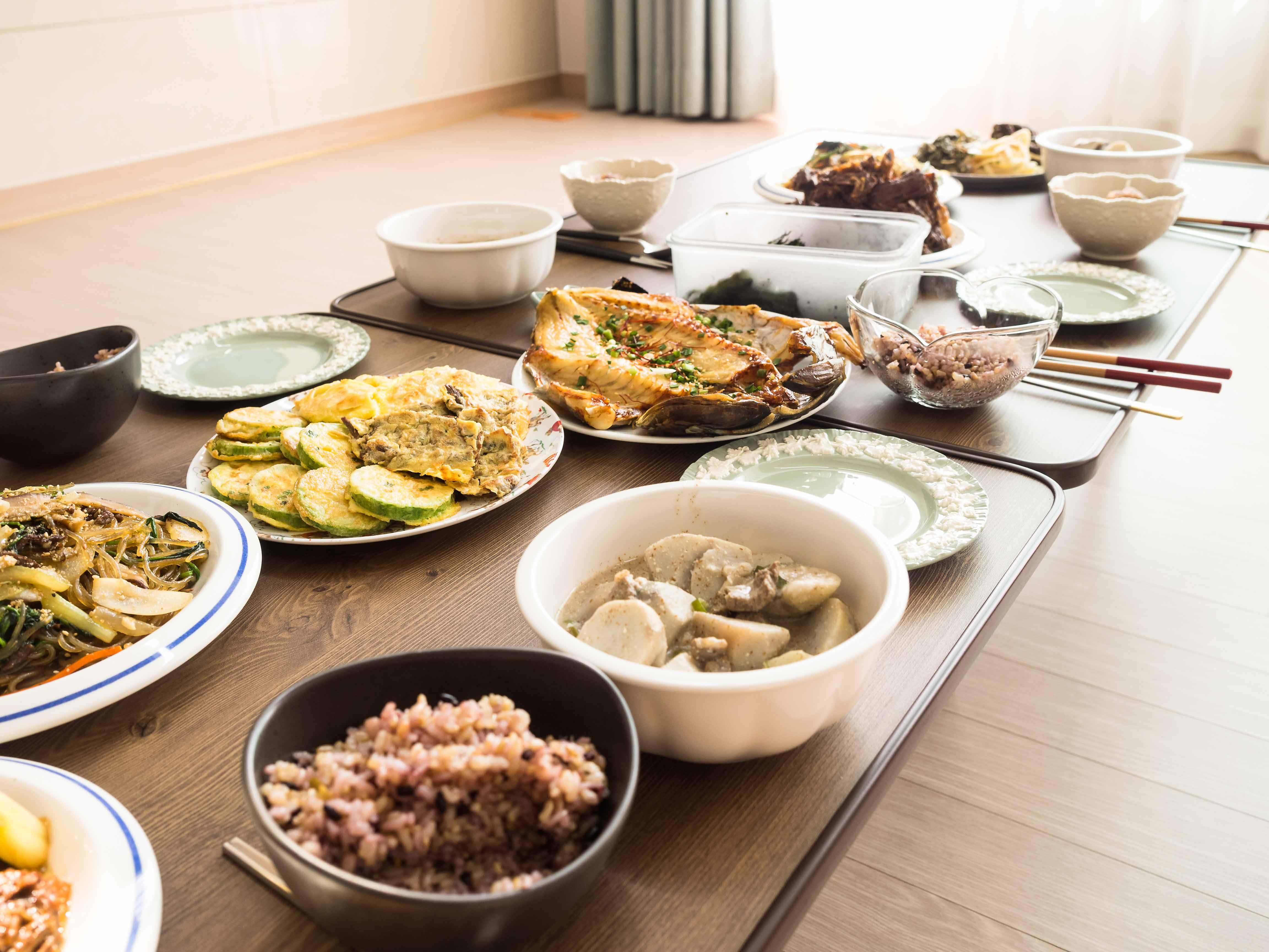 Korean Thanksgiving Festival Food Spread