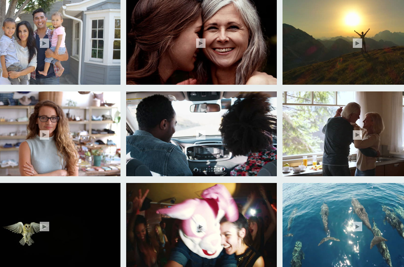Collage of stock videos showcasing family ties, landscapes, active seniors, nature, and more