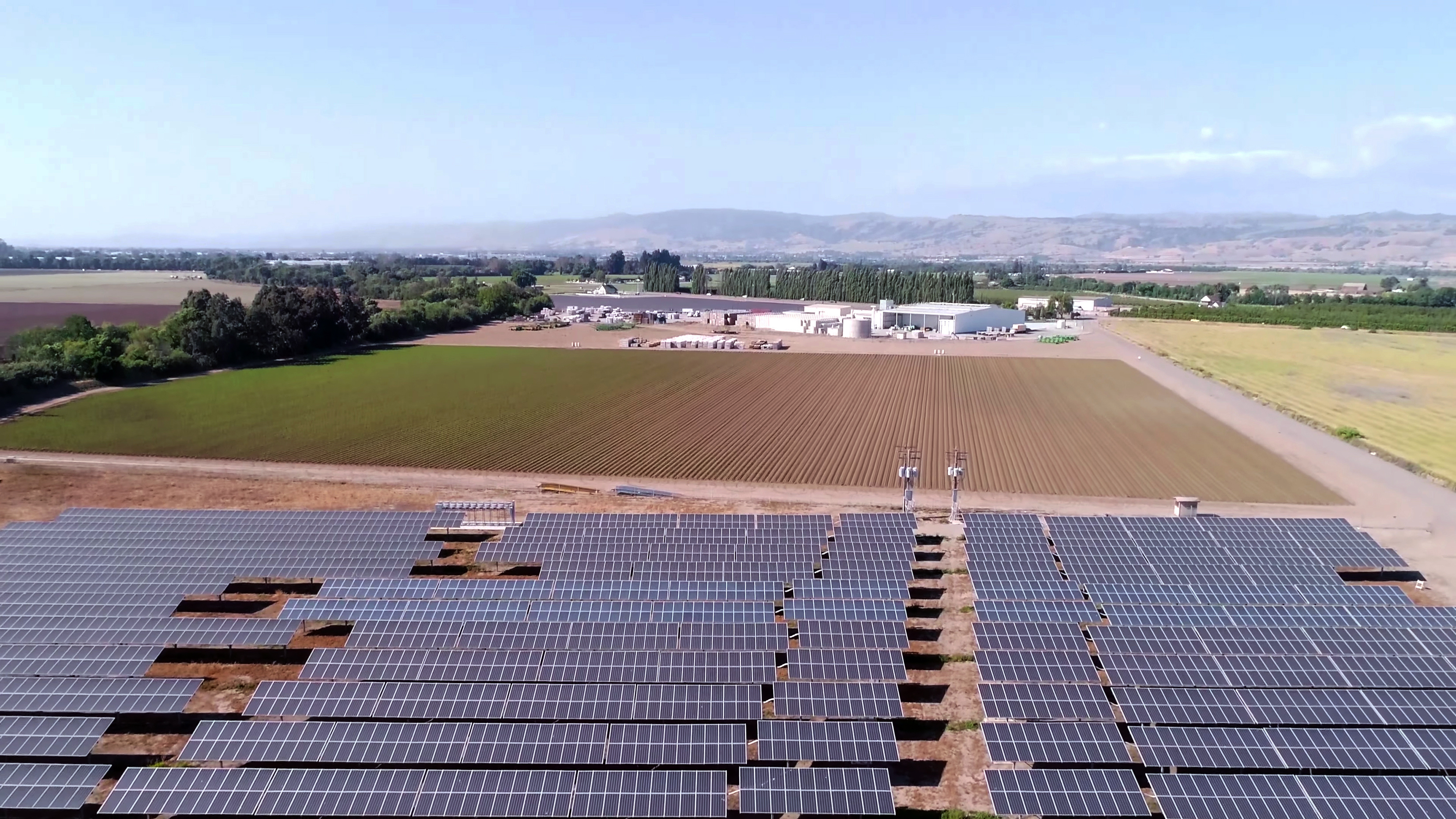 solar panels and agriculture fields