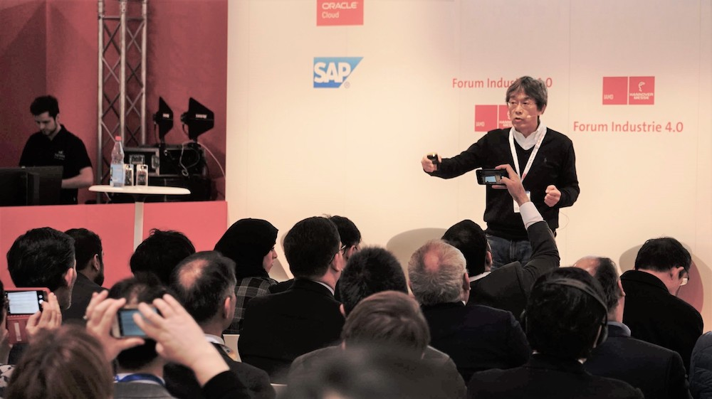 Hiroshi Yamamoto speaks at Forum Industrie 4.0 at Hannover Messe 2019
