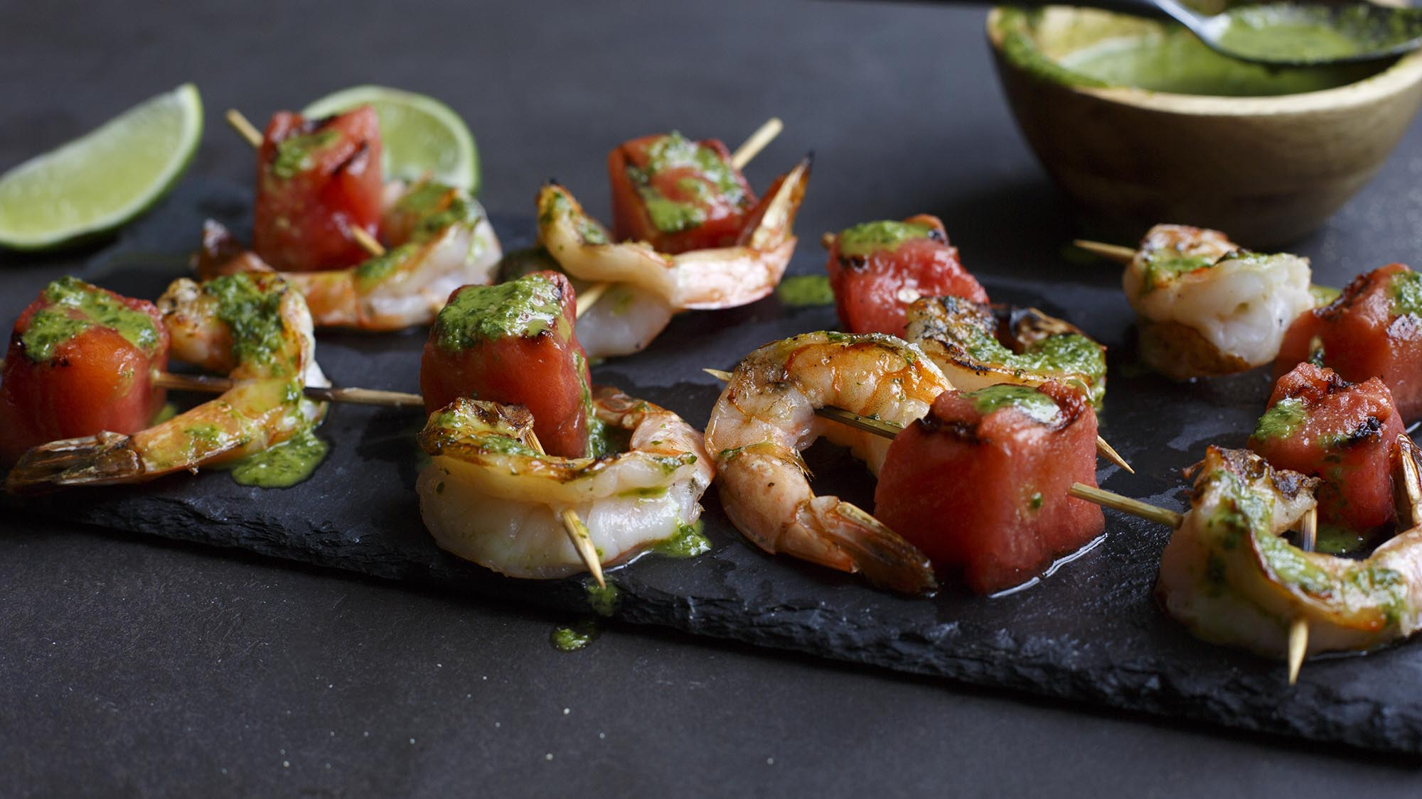 McCormick Grilled Watermelon and Shrimp Skewers