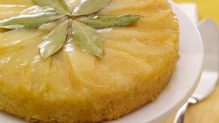 McCormick Pear Upside Down Cake with Bay Leaf Glaze
