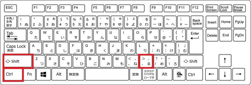 フォントサイズを大きくするショートカット(Windows)