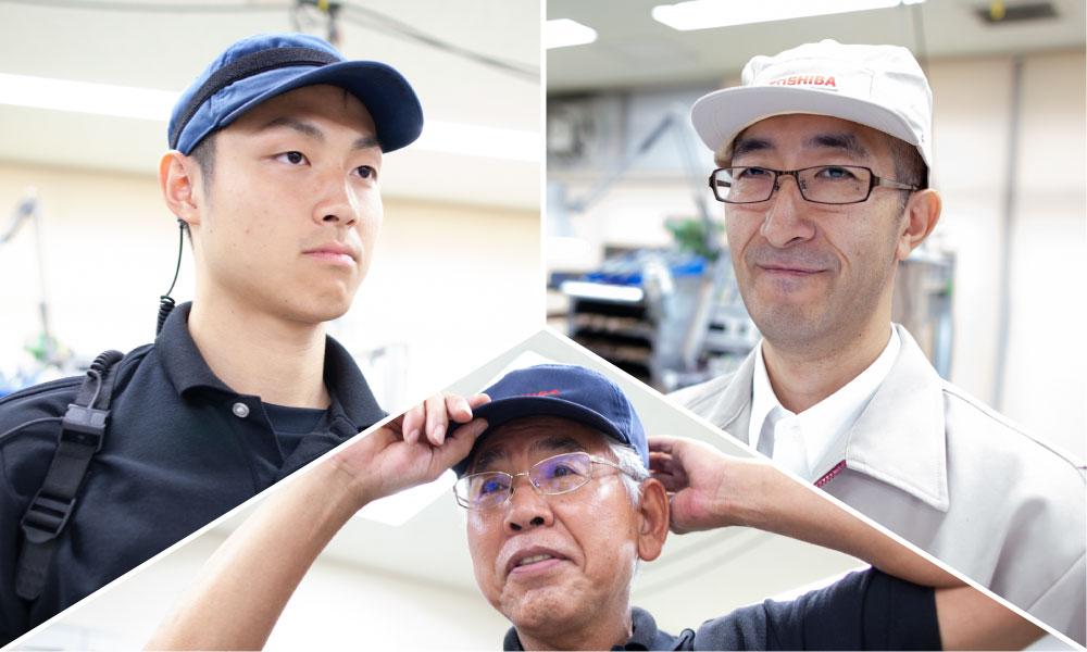 左から岡部選手、松井指導員、中村氏
