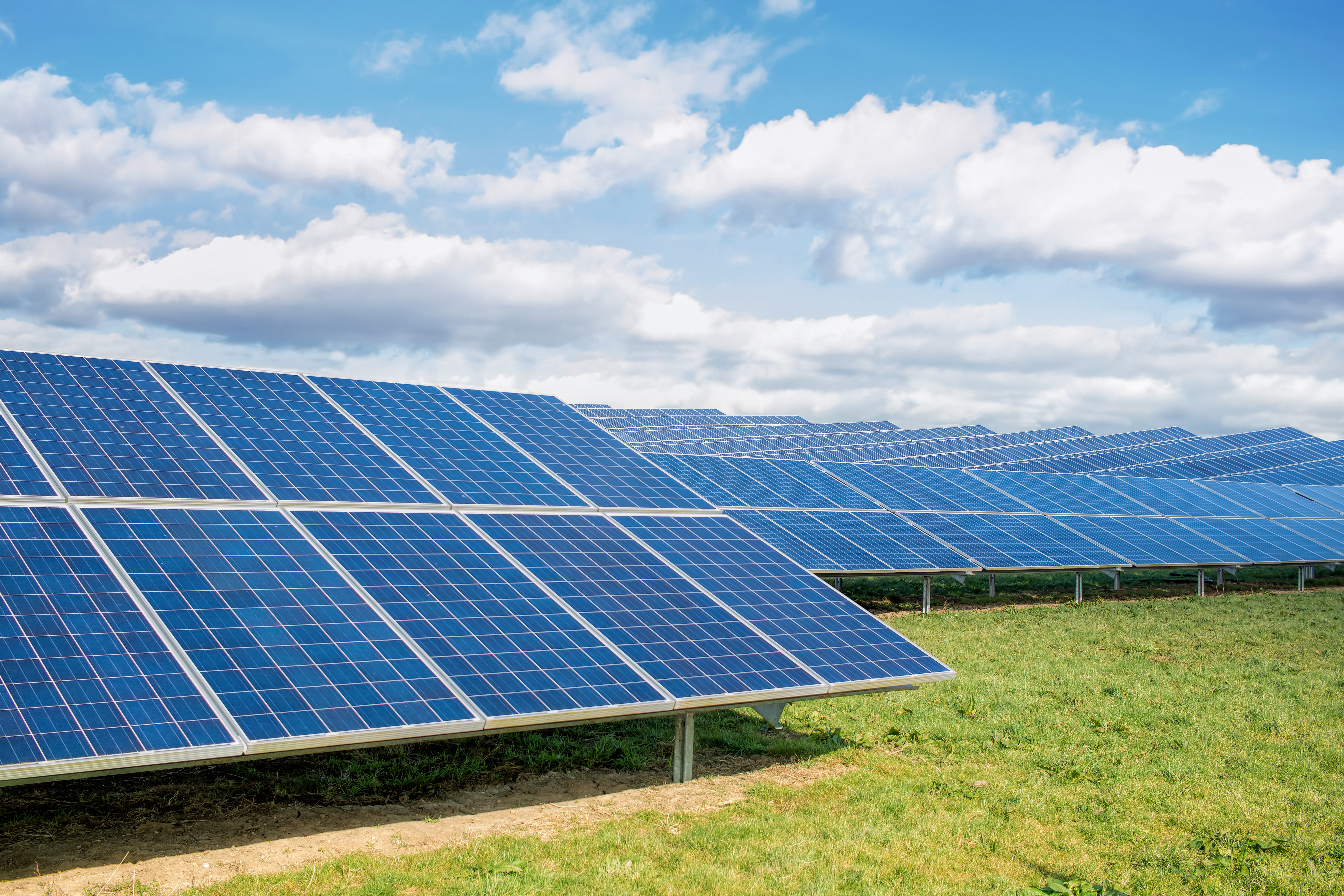 Solar Farm. Green Fields Blue Sky, Sustainable Renewable Energy.