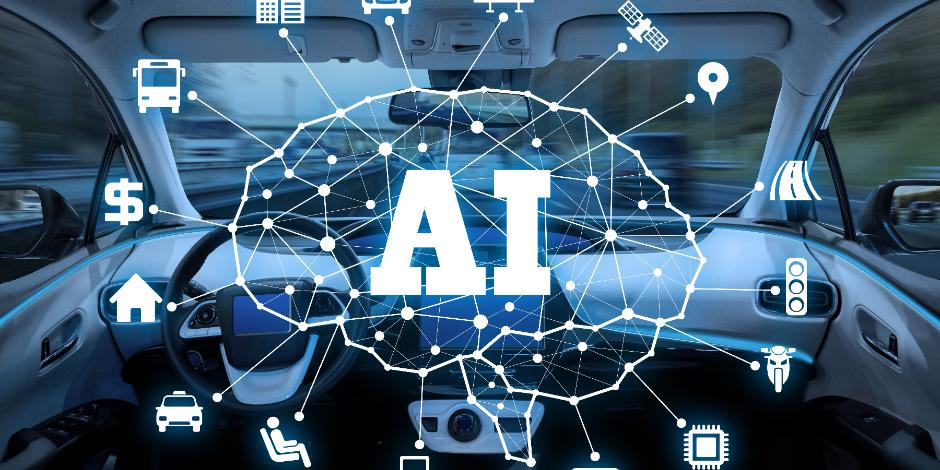 autonomous car with AI(Artificial Intelligence) concept.