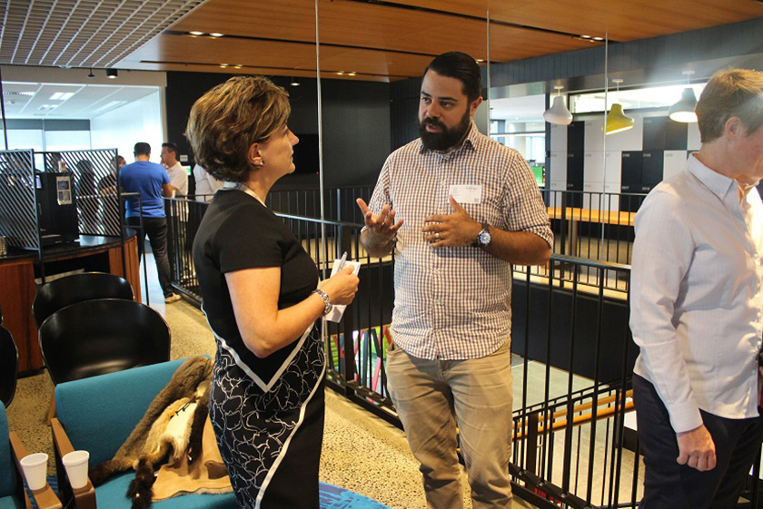 Photo : Pictured above: Fujitsu's Vice President of Human Resources, Caroline Flatley with Liam Ridgeway, co-founder of Indigitek.