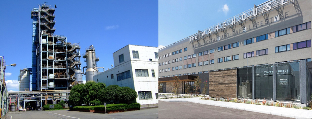 "Left: Plastic recycle plant in Showa Denko Kawasaki Right: The pure hydrogen fuel cell system ""H2Rex™"" that was implemented at the Kawasaki King Skyfront Tokyu REI Hotel"