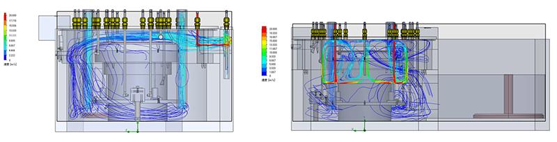 【図2 気流シミュレーションを行ってチャンバー内の空気の流れを可視化。目に見えない敵との戦いを制した】
