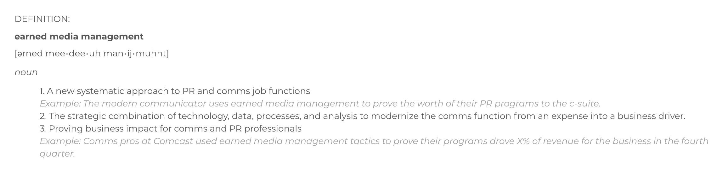 Earned Media Management Definition