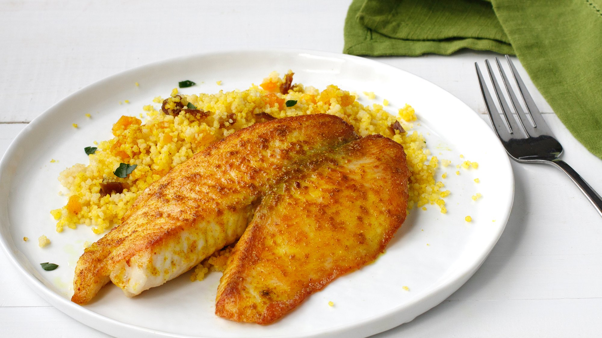 McCormick Pan-Seared Moroccan Fish with Spiced Couscous