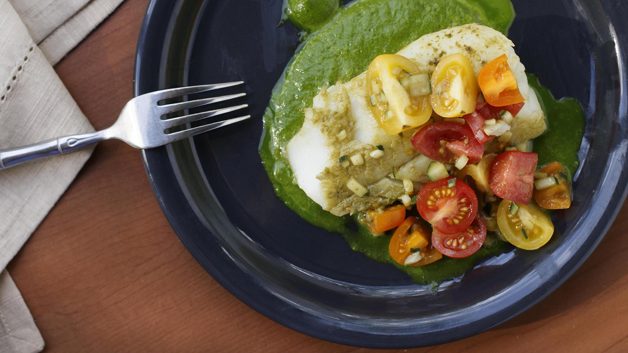 McCormick Gourmet Matcha Baked Cod with Spinach Pesto and Tomato Salad