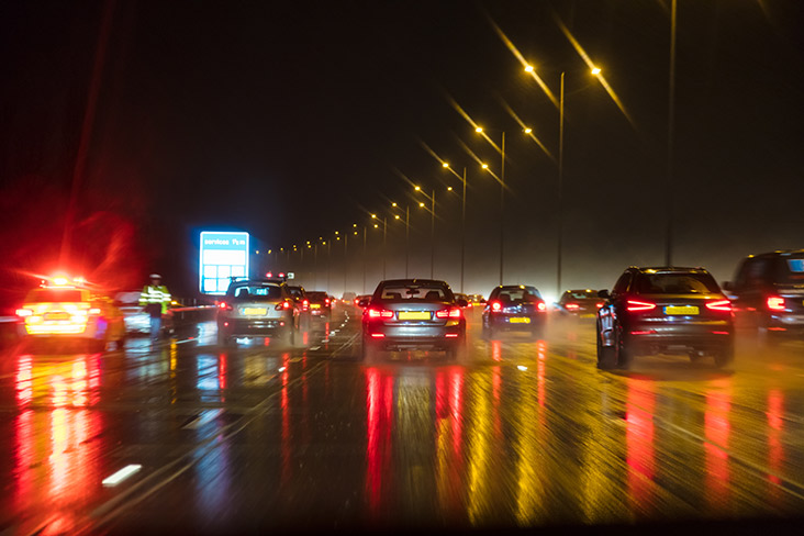Busy motorway traffic