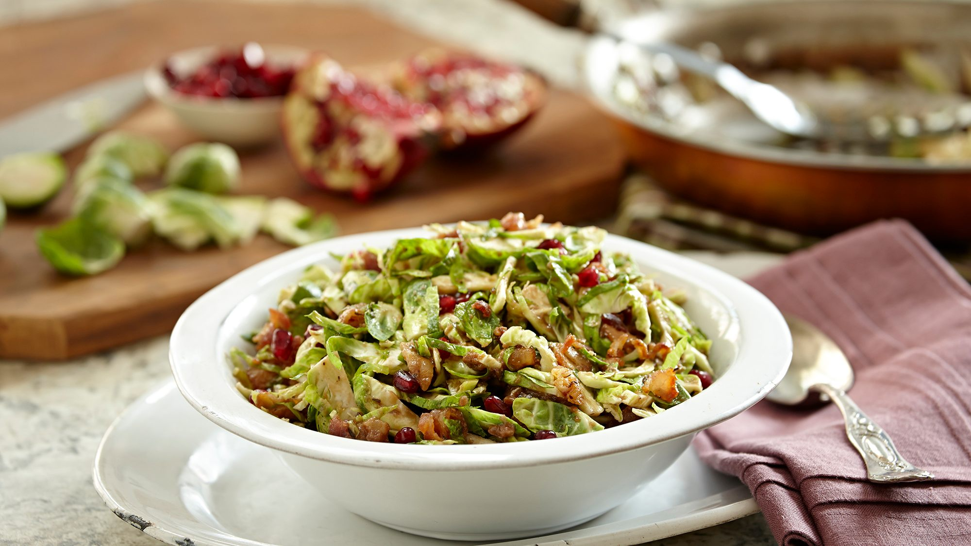 McCormick Goourmet Shaved Brussels Sprouts Salad with Cranberries and Toasted Walnuts