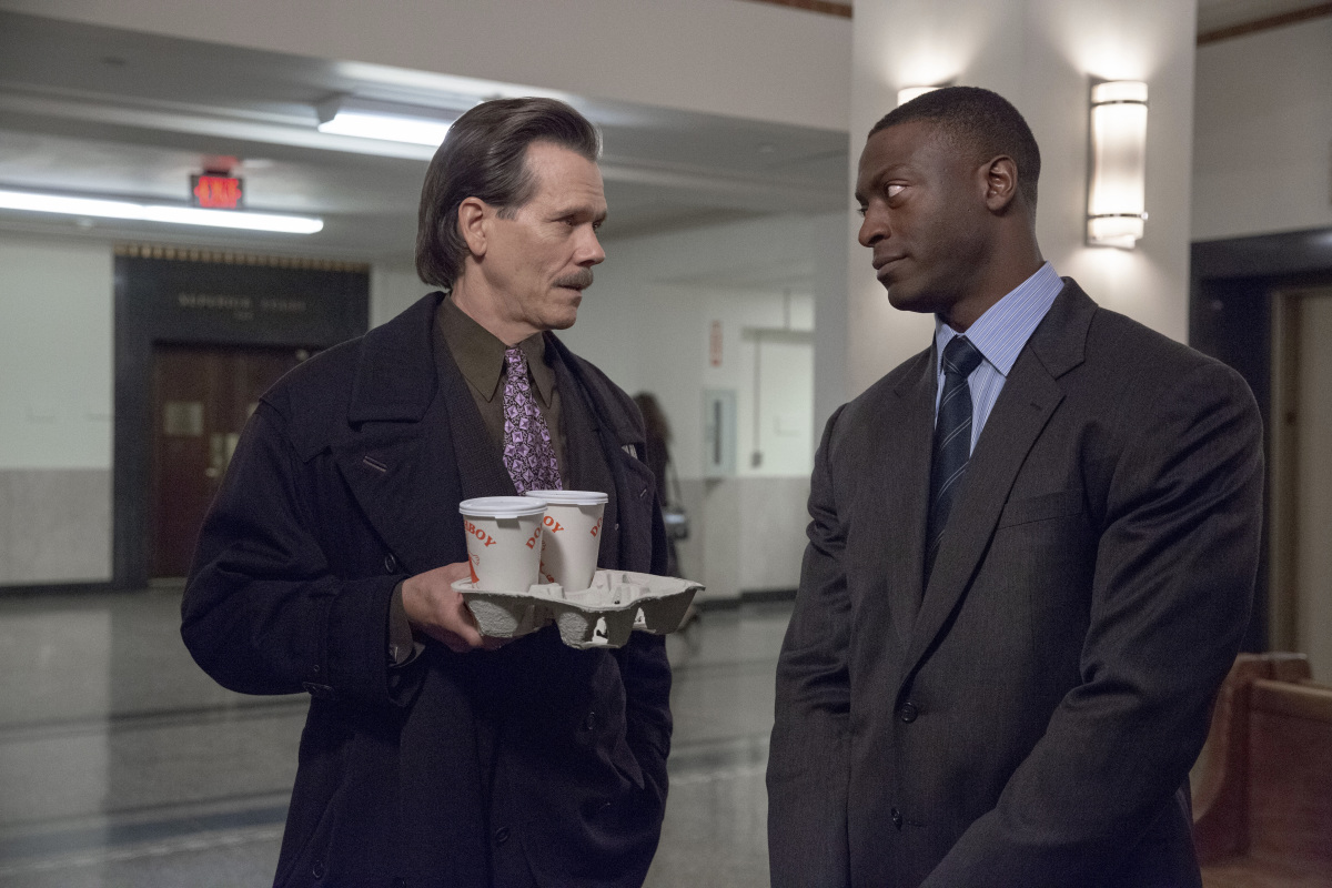 Kevin Bacon as Jackie Rohr and Aldis Hodge as Decourcy Ward in CITY ON A HILL