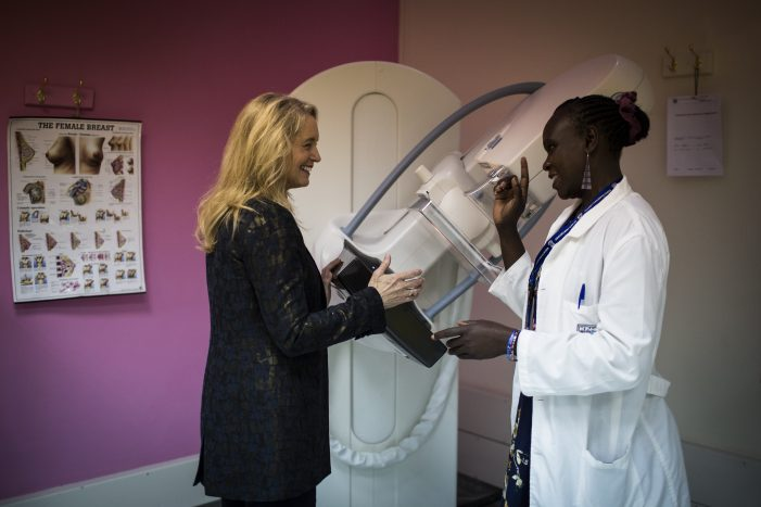 Terri Bresenham, the CEO of GE HealthcareÕs Sustainable Healthcare Solutions talks to a doctor next to GE Healtthcare equipment at the Kenyatta National Hospital in Nairobi, Kenya, June 15, 2016.