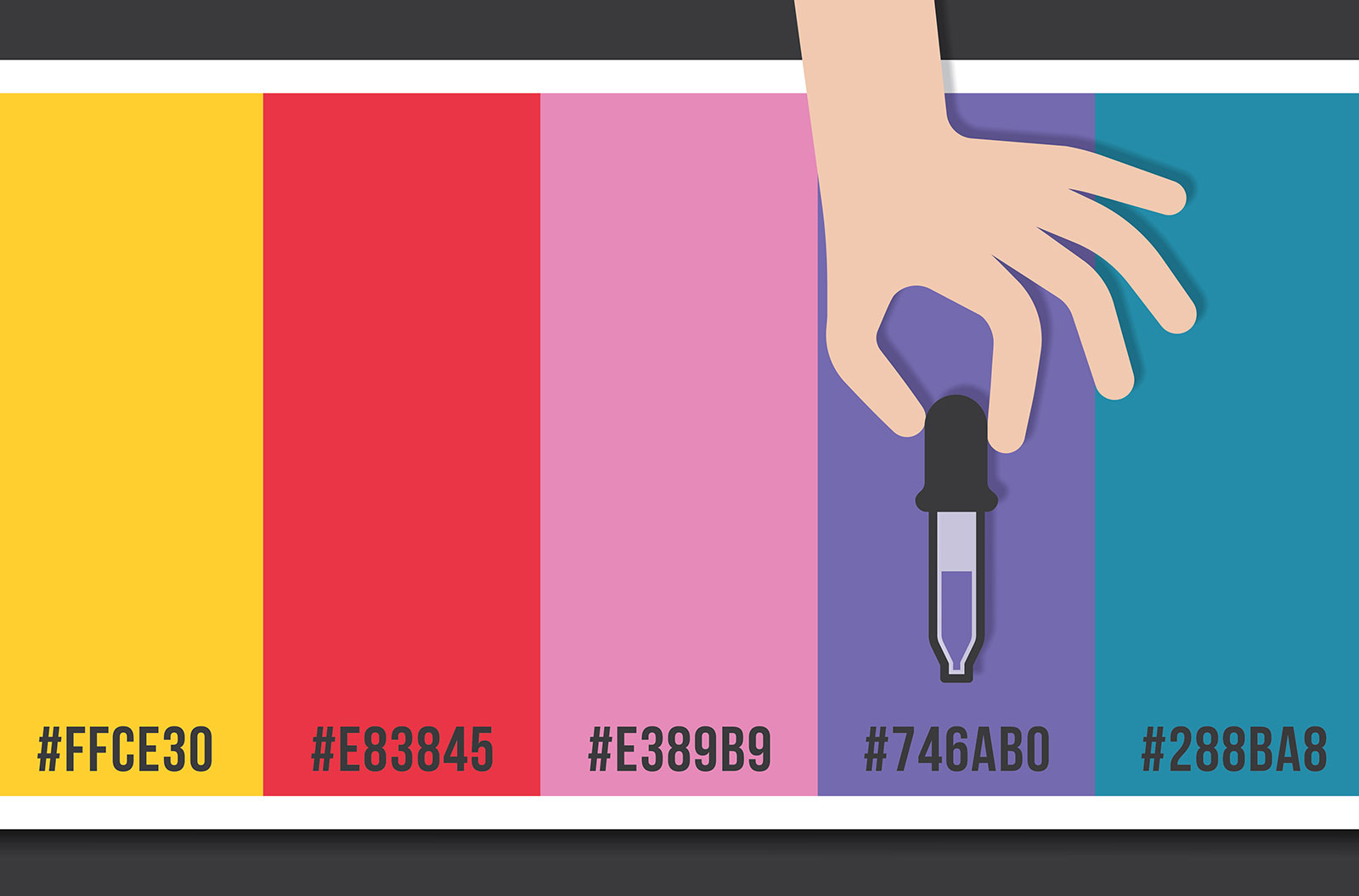 Hand eyedropper tool with color palette stock illustration