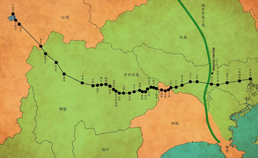 府中は鎌倉時代につくられた鎌倉街道と江戸時代につくられた甲州街道が交差する重要地点であった