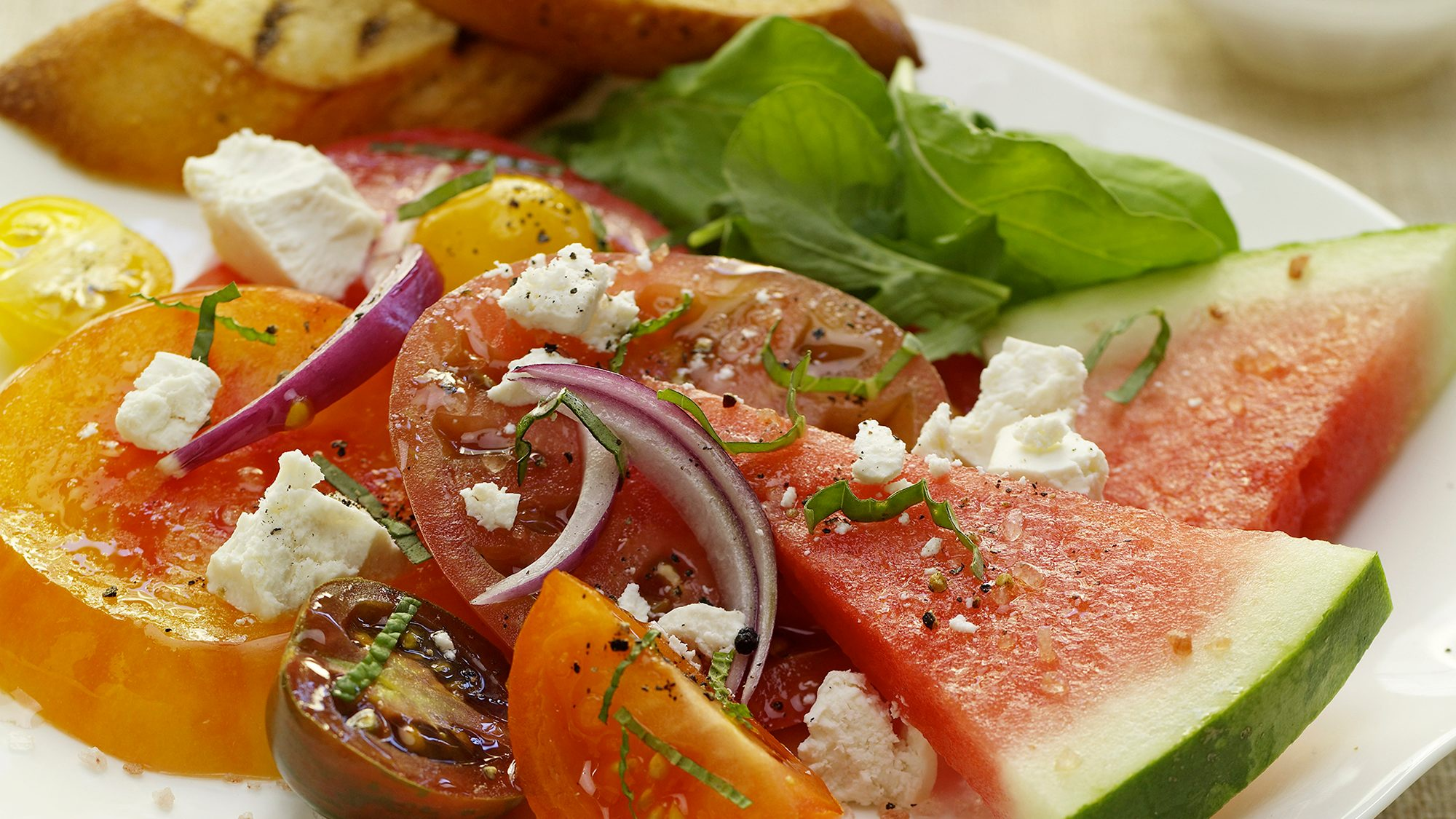 McCormick Heirloom Tomato and Watermelon Salad with Ricotta Salata