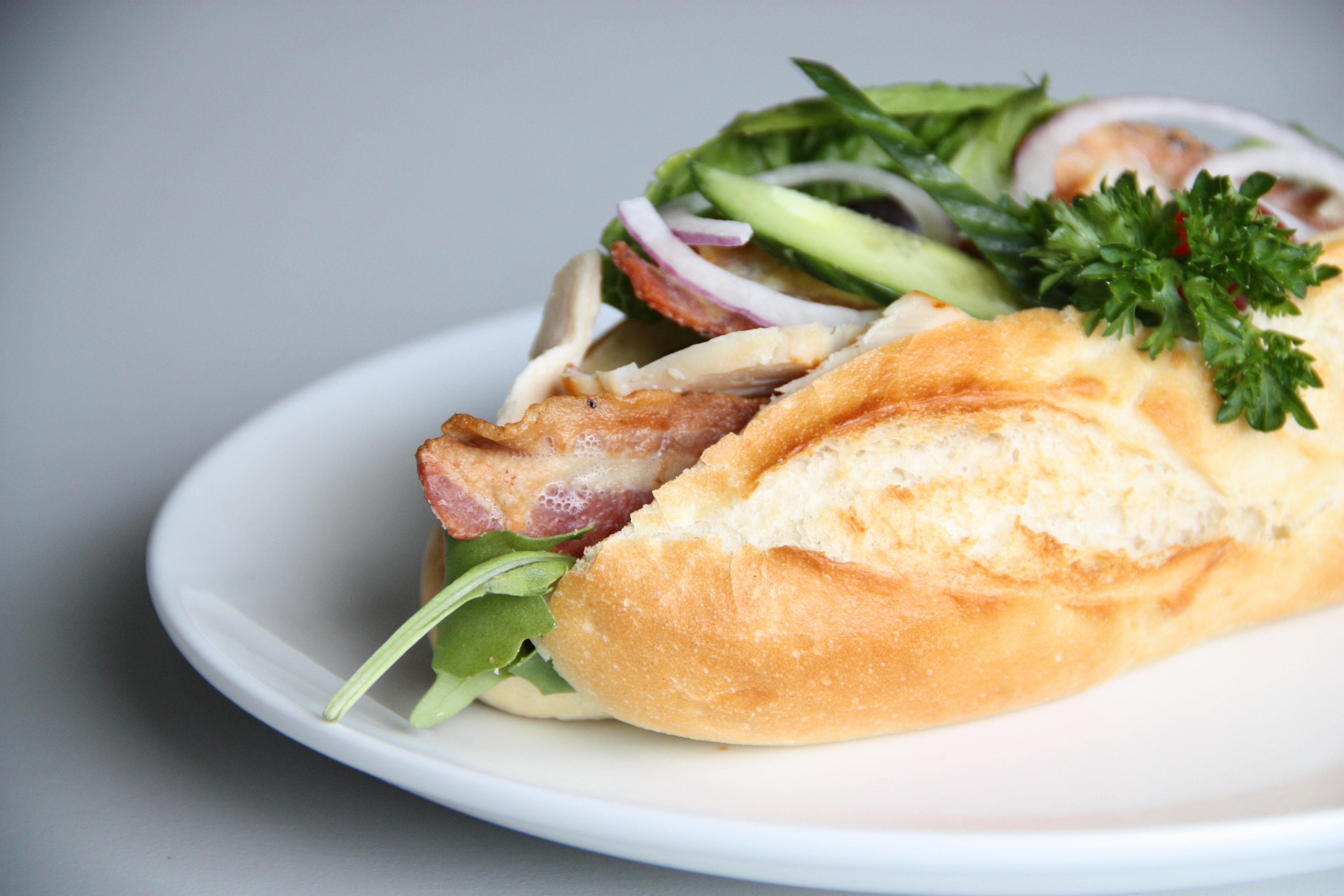Vietnamese Bahn Mi Pork Sandwich on White Background