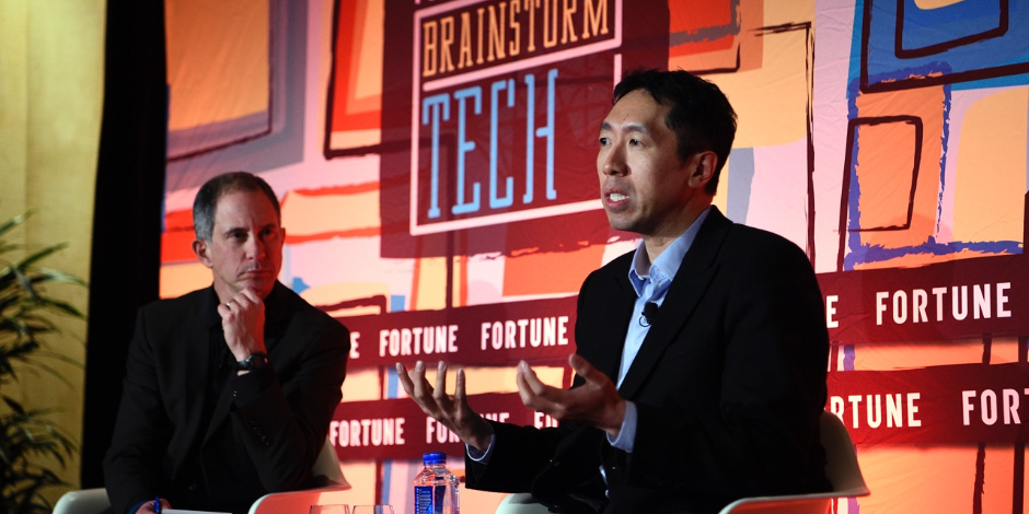 Baidu's then-chief scientist Andrew Ng (right) and Fortune assistant managing editor Adam Lashinsky at a Fortune Brainstorm Tech dinner in Las Vegas in Jan. 2017.