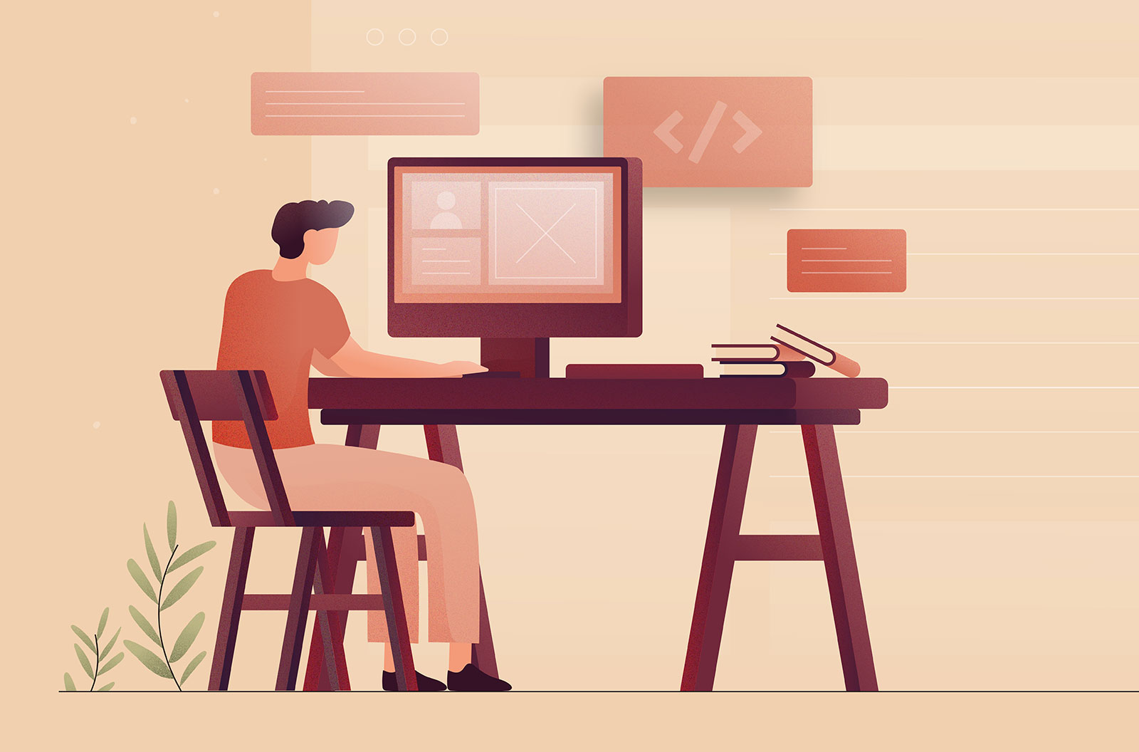 Web design concept vector illustration of person sitting at a desk working