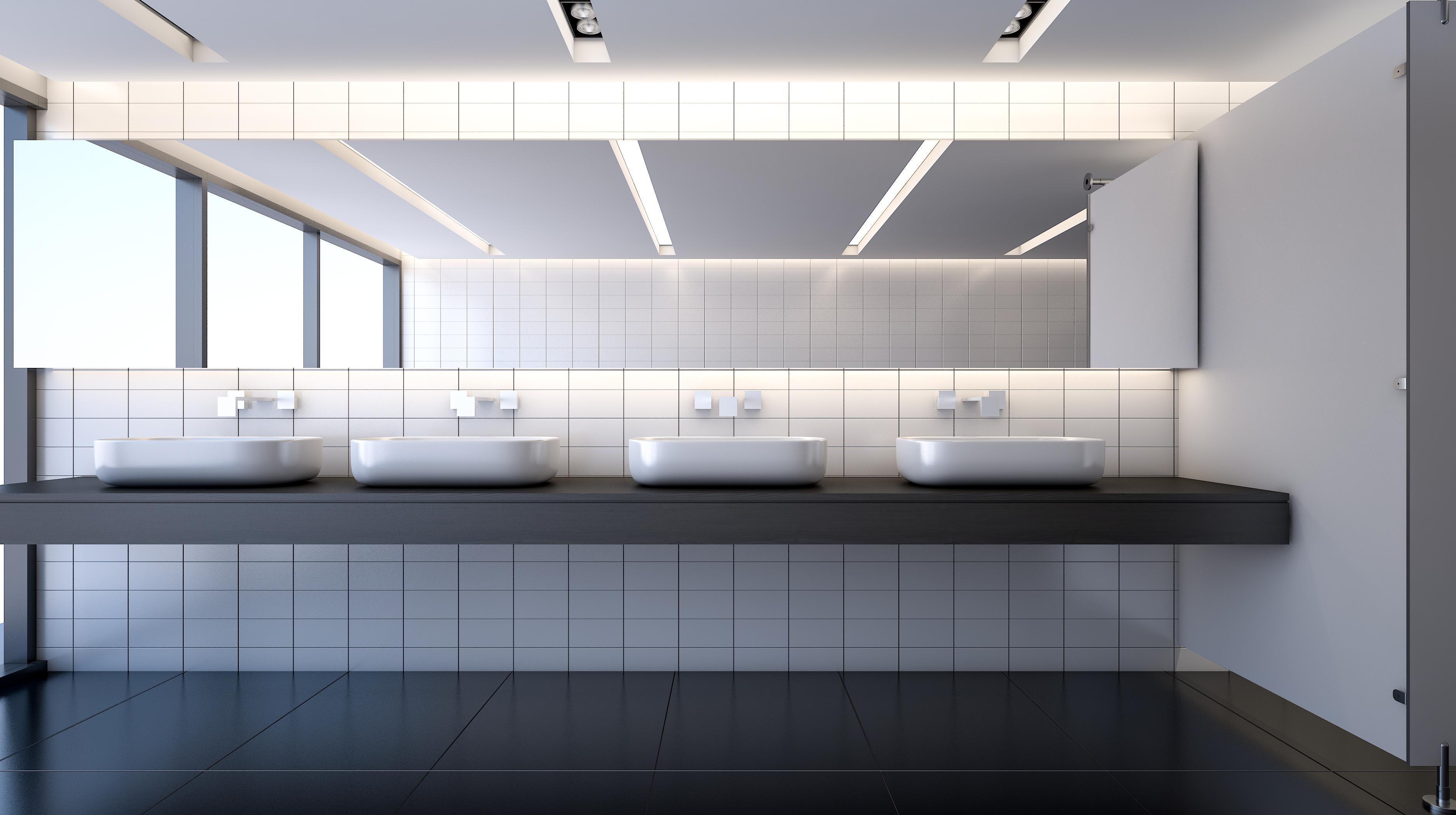 Public modern restroom , 3d rendering