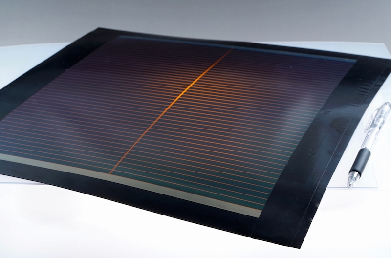 The film-based perovskite solar cell developed by Toshiba and NEDO